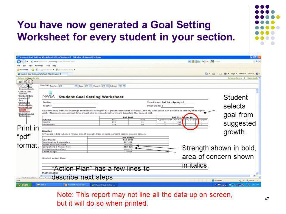 You have now generated a Goal Setting Worksheet for every student in your section.