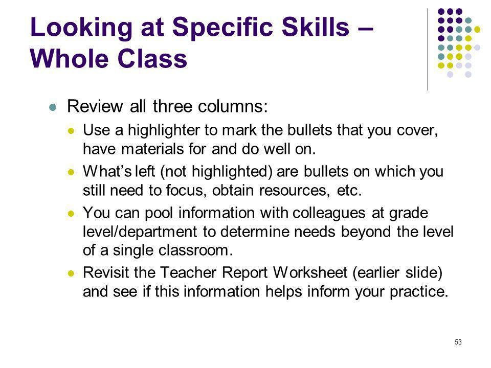 Looking at Specific Skills – Whole Class