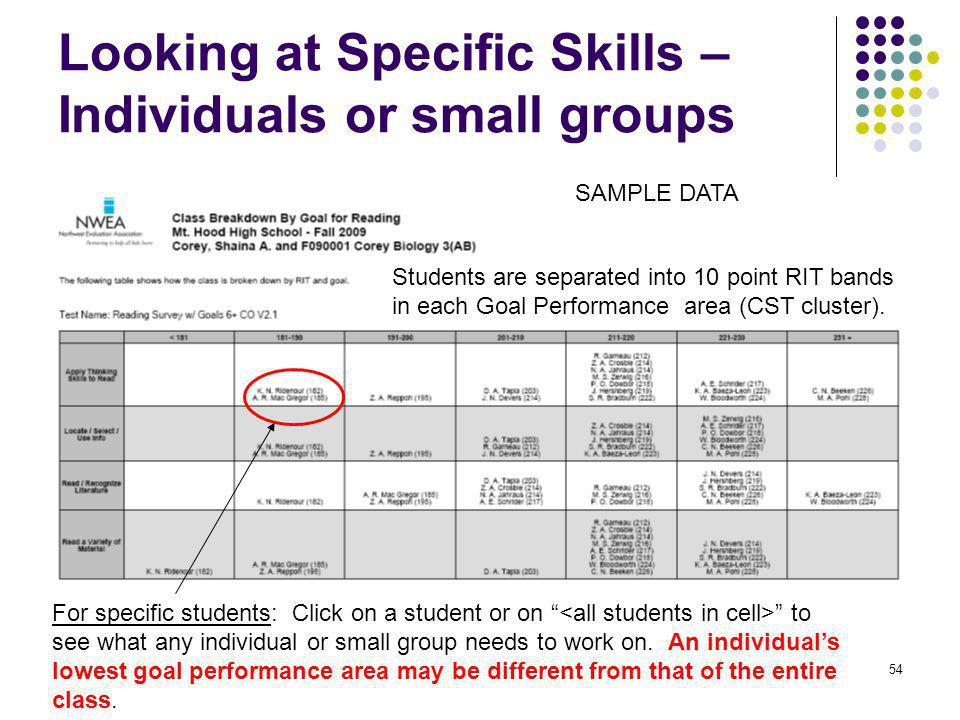 Looking at Specific Skills –Individuals or small groups