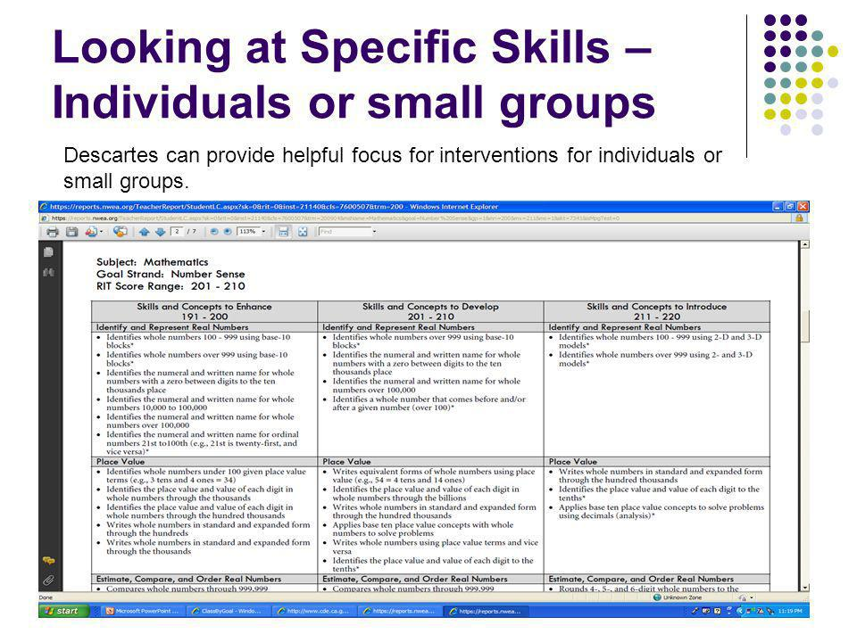 Looking at Specific Skills – Individuals or small groups