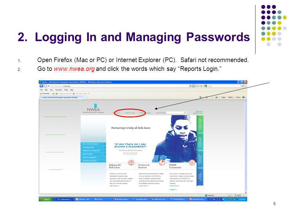 2. Logging In and Managing Passwords