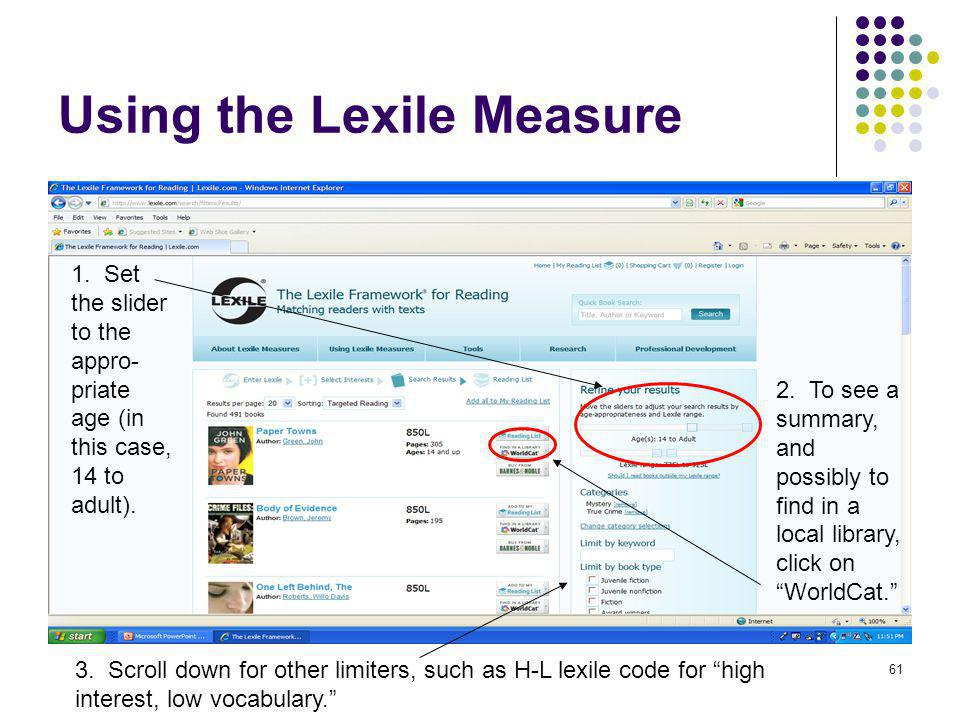 Using the Lexile Measure
