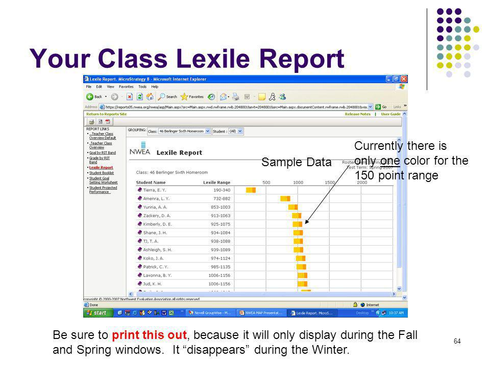 Your Class Lexile Report