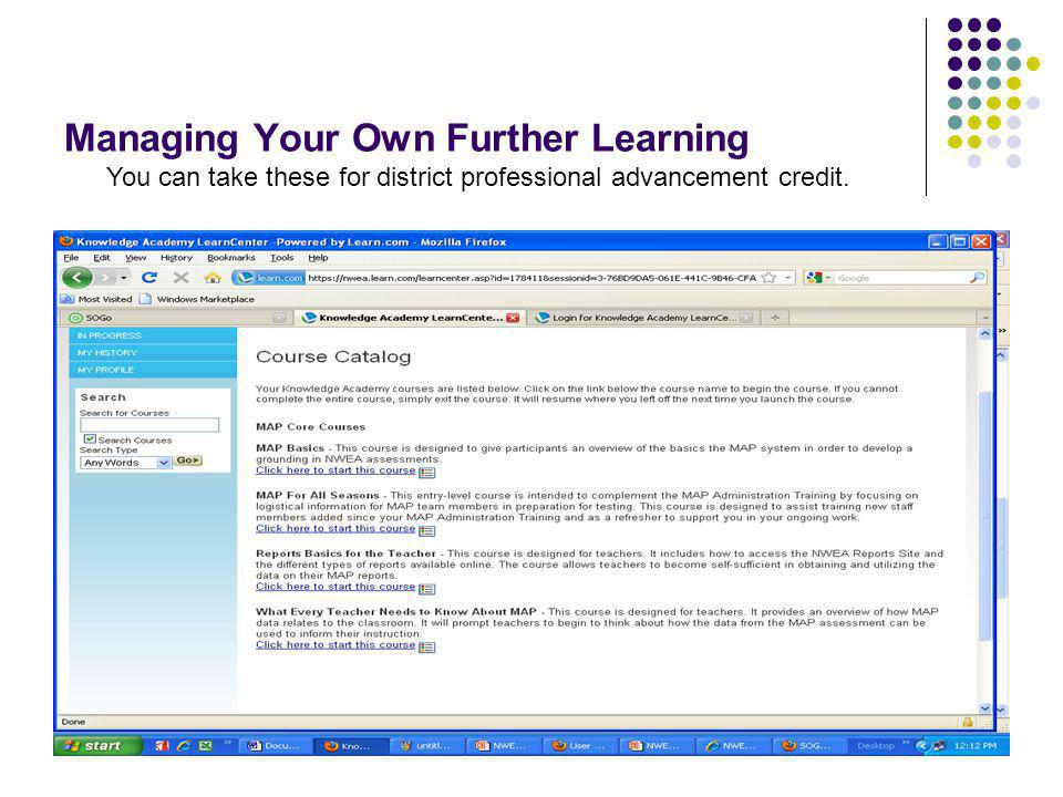 Managing Your Own Further Learning
