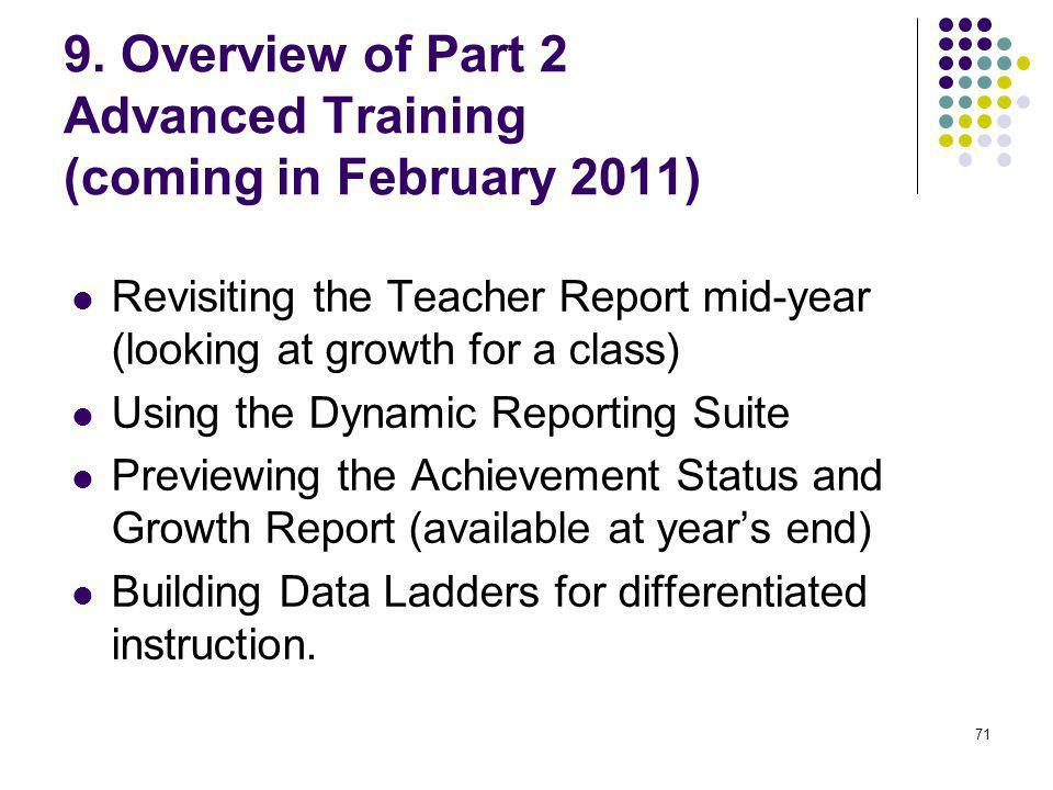 9. Overview of Part 2 Advanced Training (coming in February 2011)