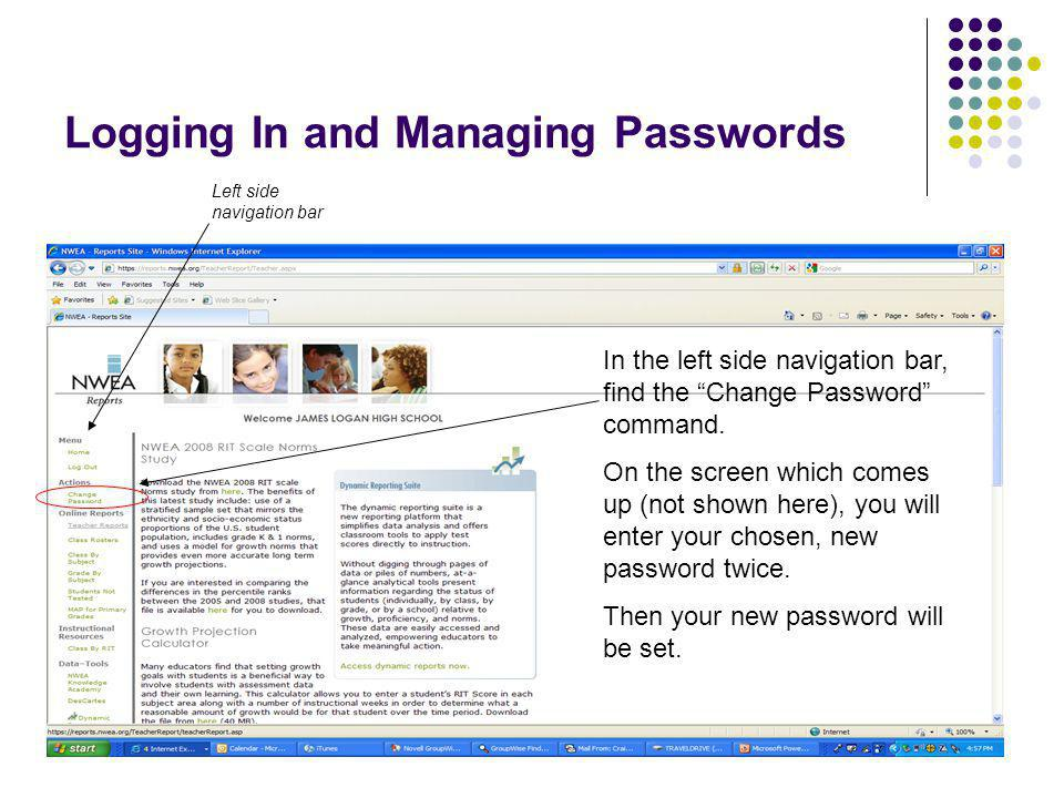 Logging In and Managing Passwords