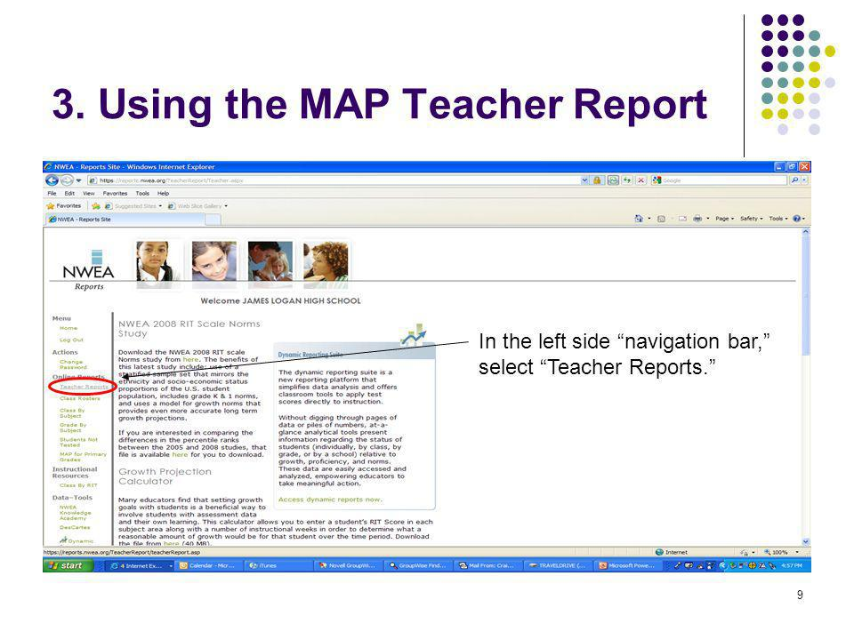 3. Using the MAP Teacher Report
