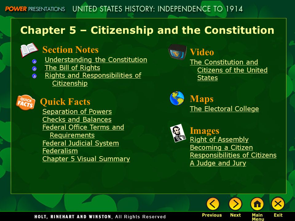 Chapter 5 – Citizenship and the Constitution