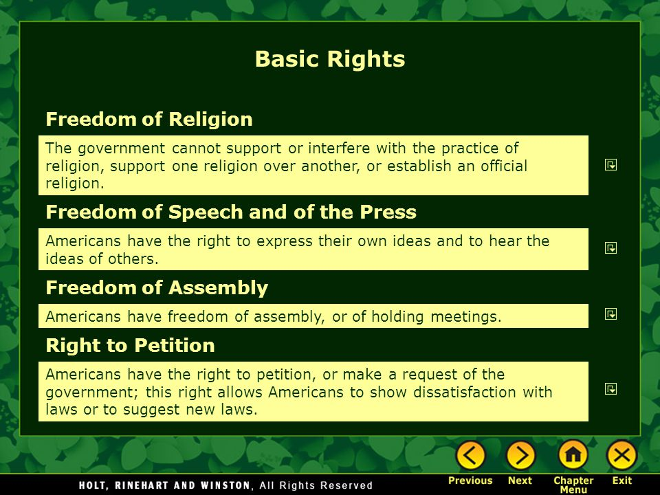 Basic Rights Freedom of Religion Freedom of Speech and of the Press