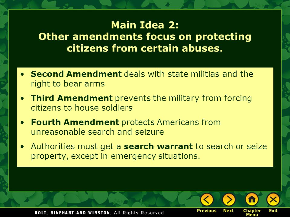 Main Idea 2: Other amendments focus on protecting citizens from certain abuses.