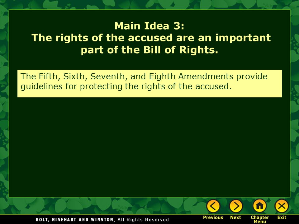 Main Idea 3: The rights of the accused are an important part of the Bill of Rights.
