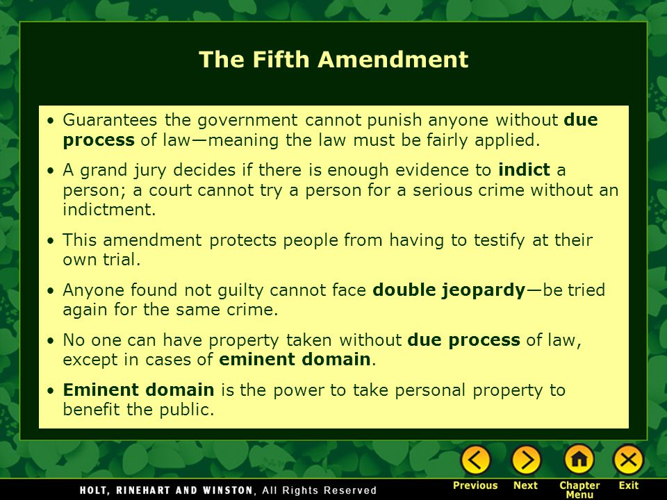 The Fifth Amendment Guarantees the government cannot punish anyone without due process of law—meaning the law must be fairly applied.
