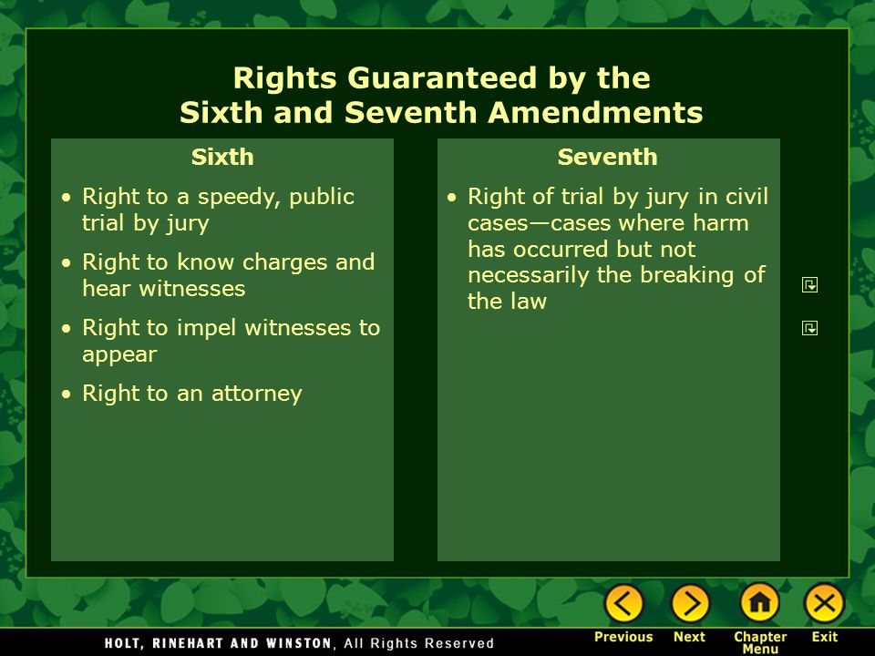 Rights Guaranteed by the Sixth and Seventh Amendments