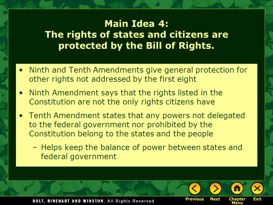 Main Idea 4: The rights of states and citizens are protected by the Bill of Rights.