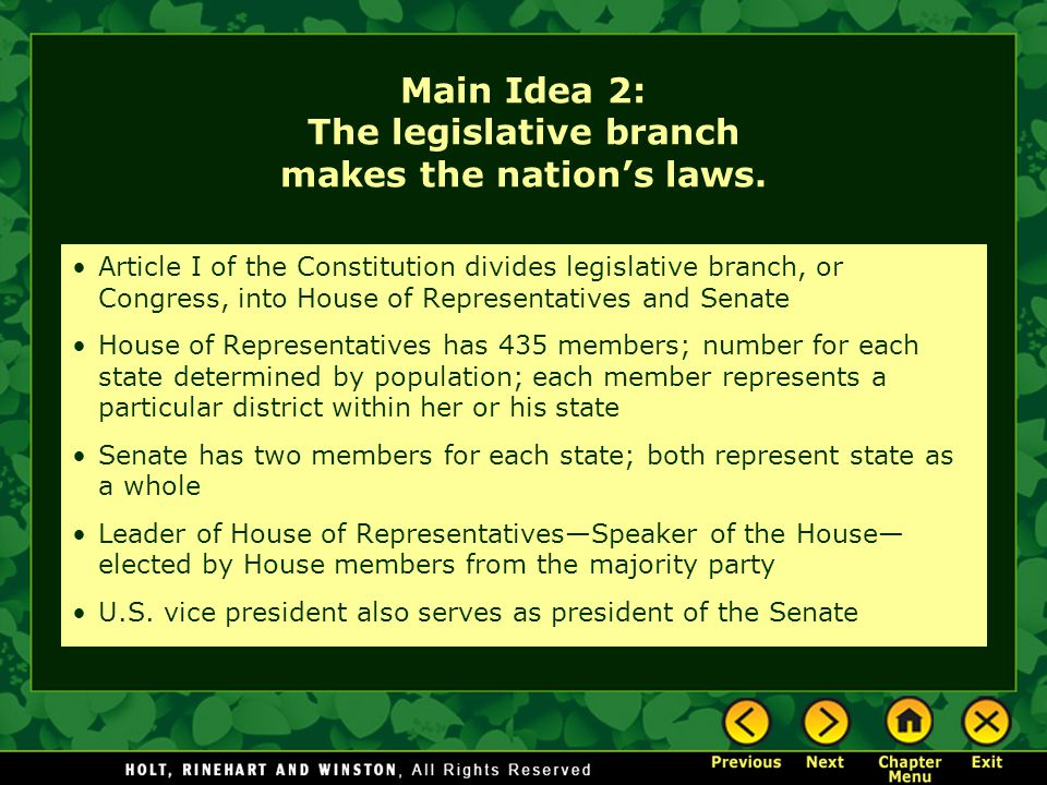 Main Idea 2: The legislative branch makes the nation's laws.
