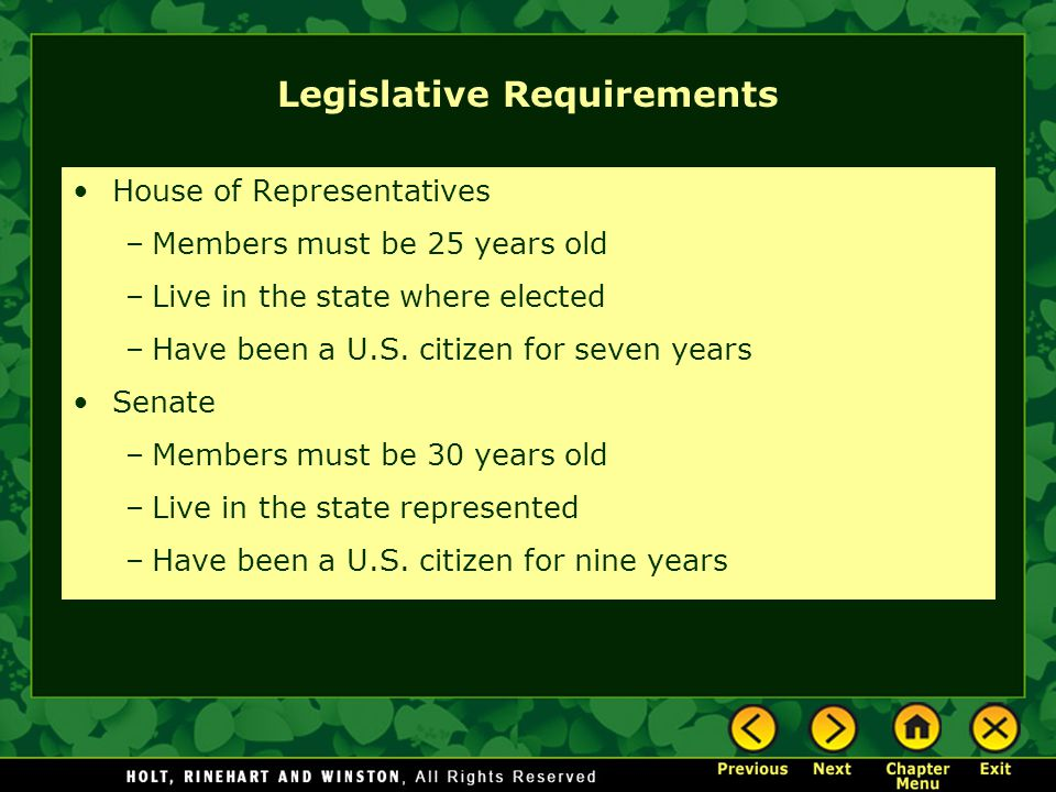 Legislative Requirements