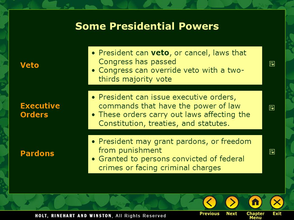 Some Presidential Powers