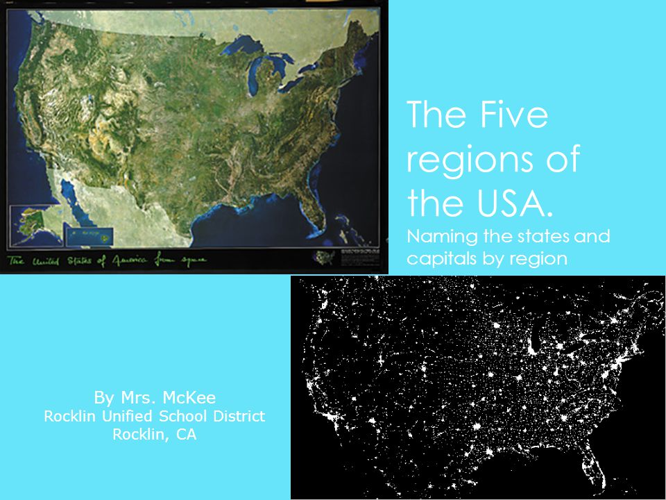 The Five regions of the USA. Naming the states and capitals by region