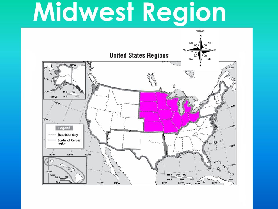 The Five Regions Of The USA Naming The States And Capitals By - Map of midwestern states