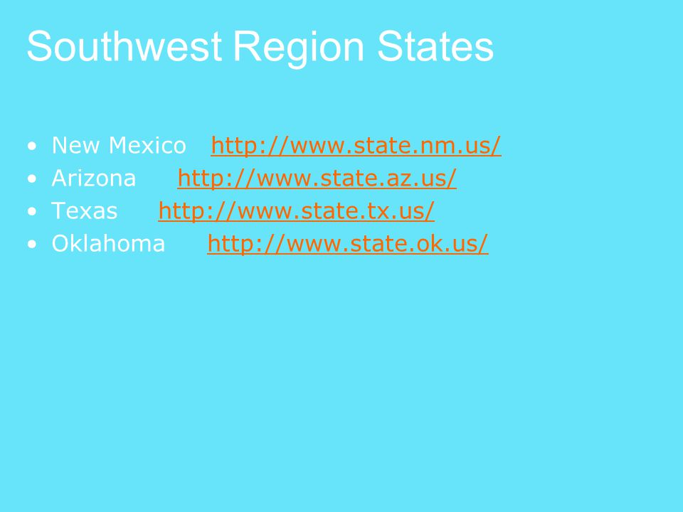 Southwest Region States