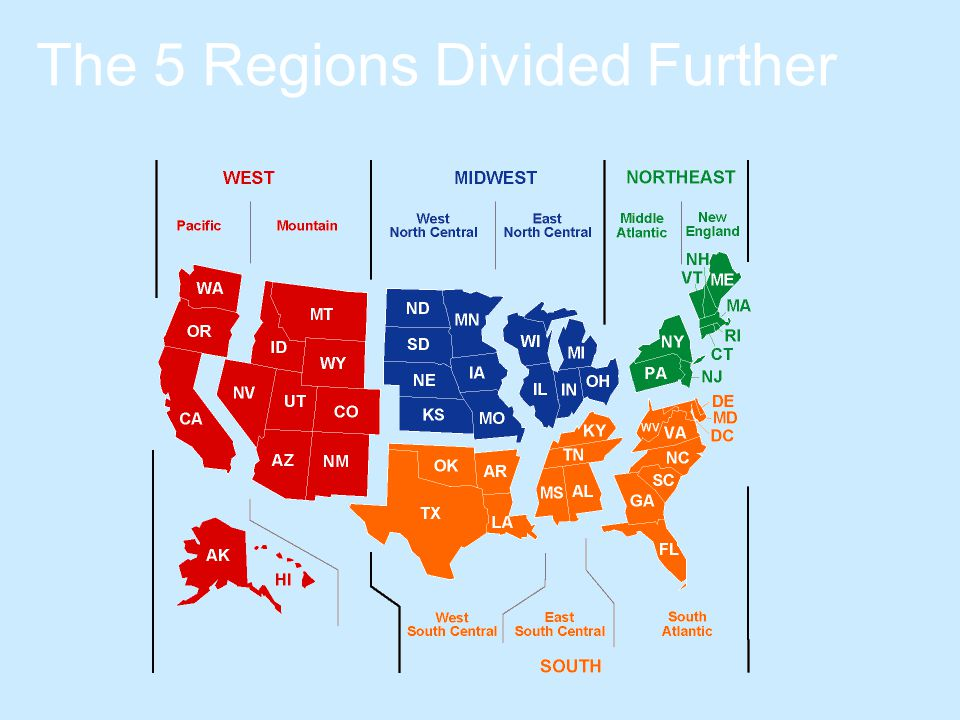 The 5 Regions Divided Further