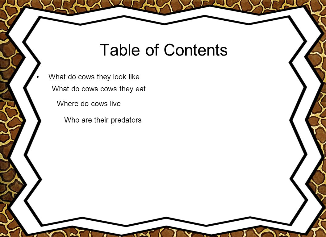 Table of Contents What do cows they look like