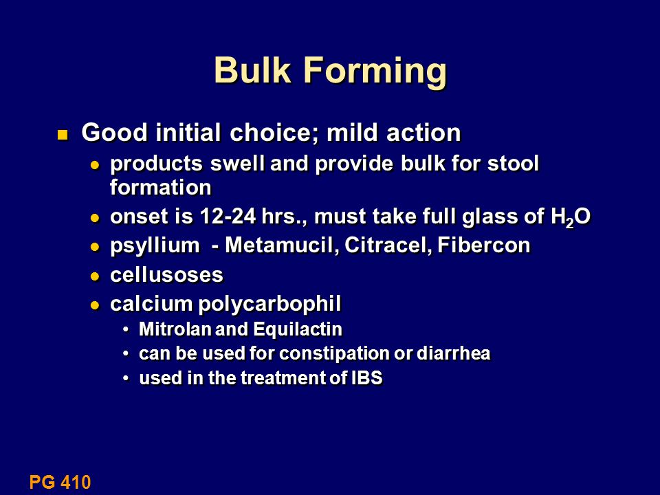 Bulk Forming Good initial choice; mild action