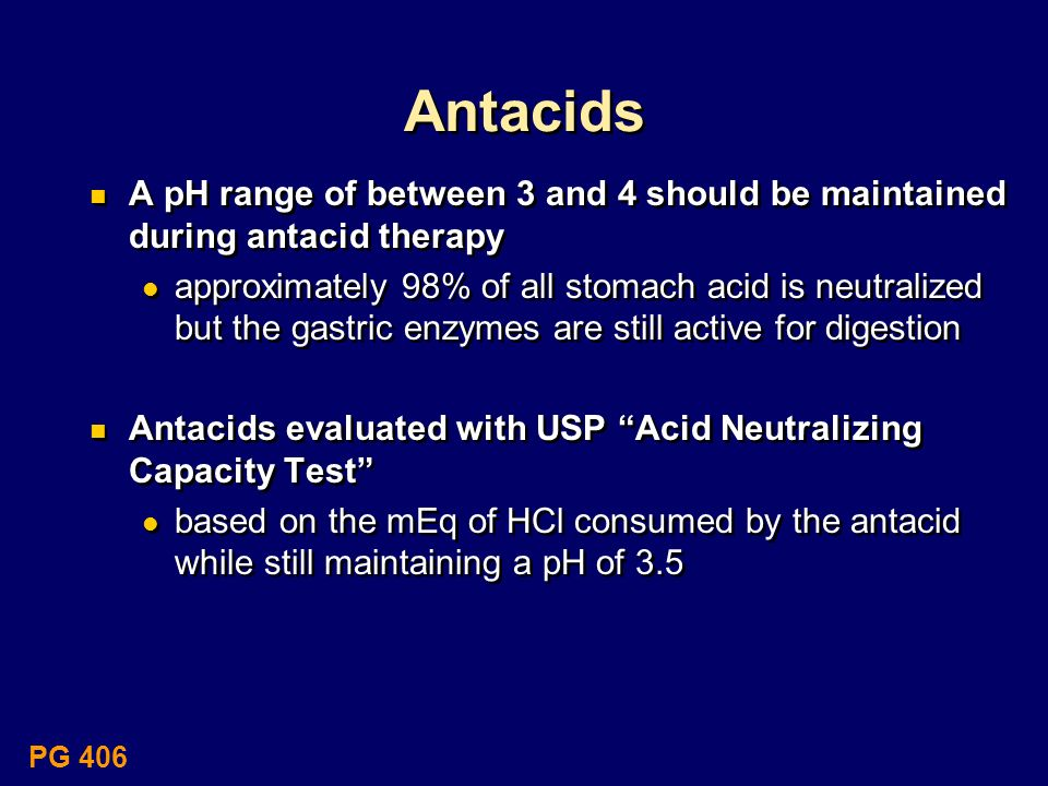 Antacids A pH range of between 3 and 4 should be maintained during antacid therapy.