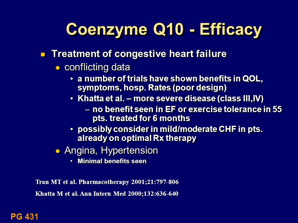 Coenzyme Q10 - Efficacy Treatment of congestive heart failure