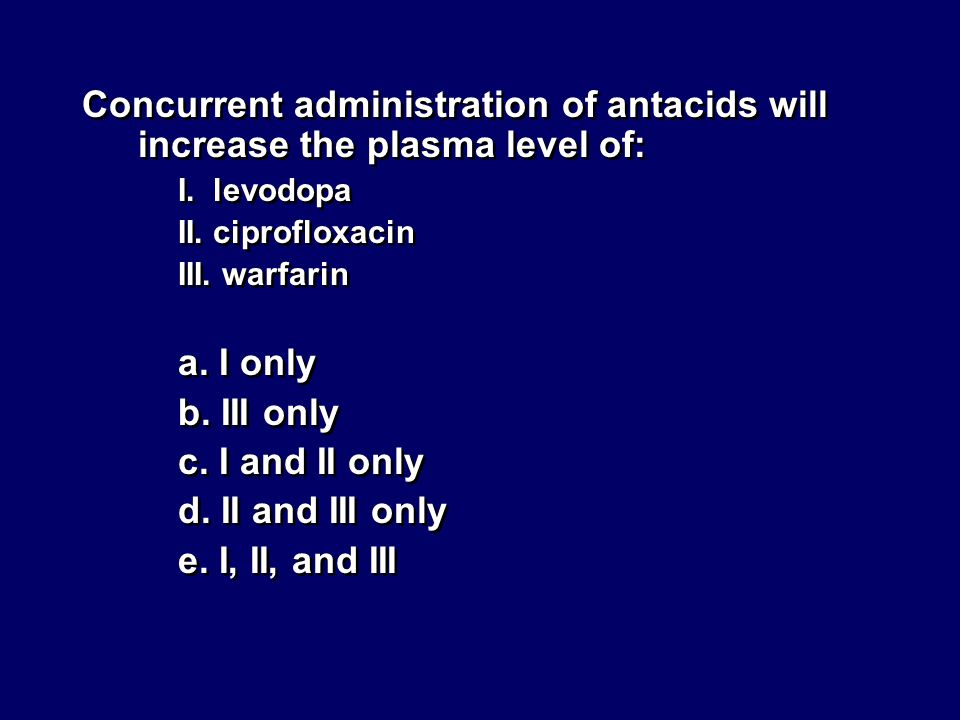 Concurrent administration of antacids will increase the plasma level of: