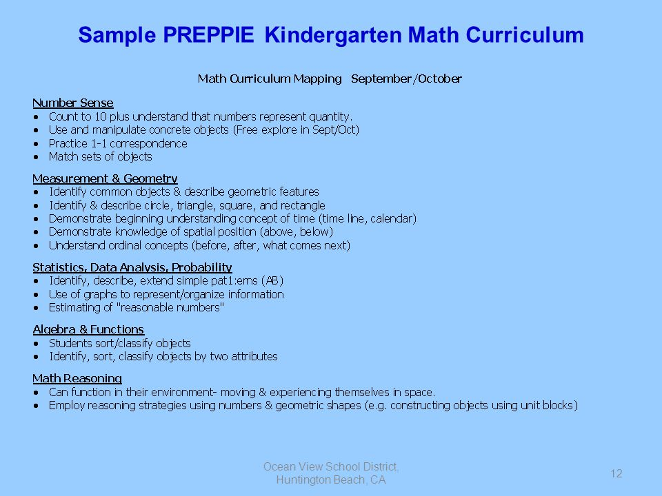 Sample PREPPIE Kindergarten Math Curriculum
