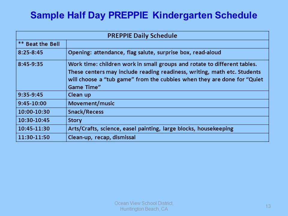 Sample Half Day PREPPIE Kindergarten Schedule PREPPIE Daily Schedule