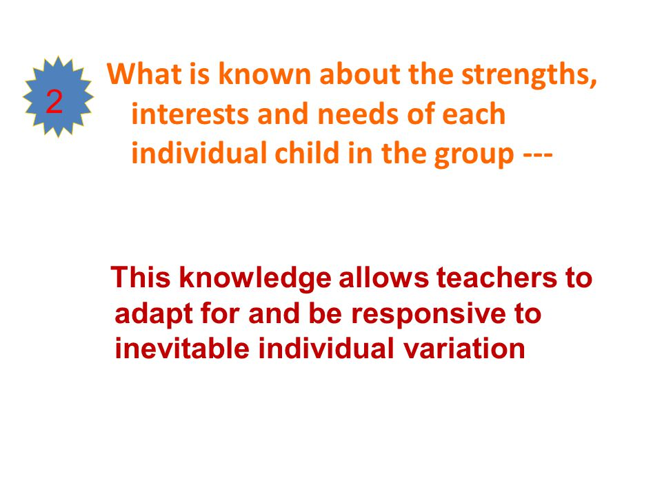 What is known about the strengths, interests and needs of each individual child in the group ---