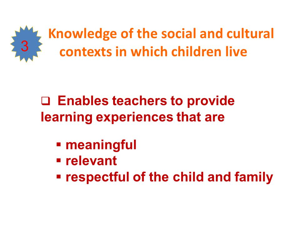 Knowledge of the social and cultural contexts in which children live 3