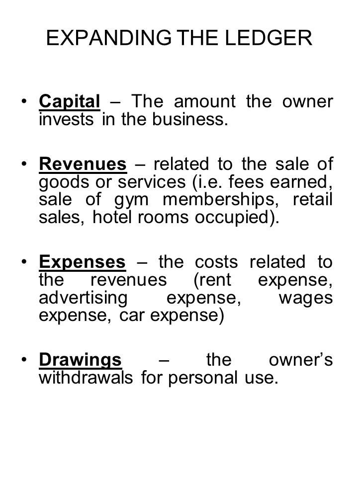 EXPANDING THE LEDGER Capital – The amount the owner invests in the business.