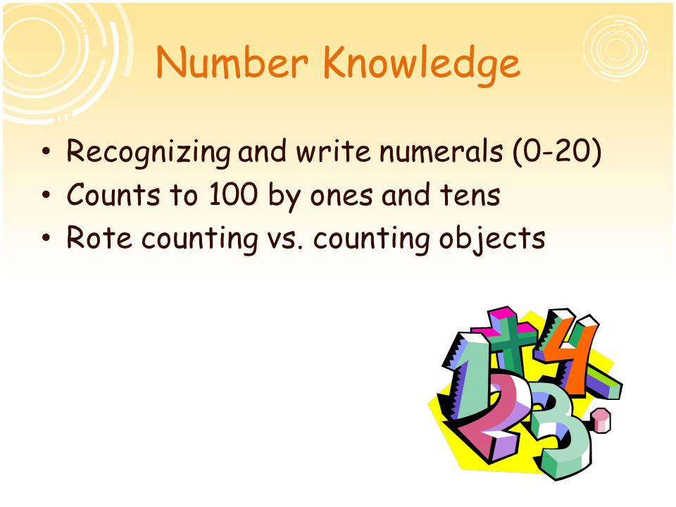 Number Knowledge Recognizing and write numerals (0-20)
