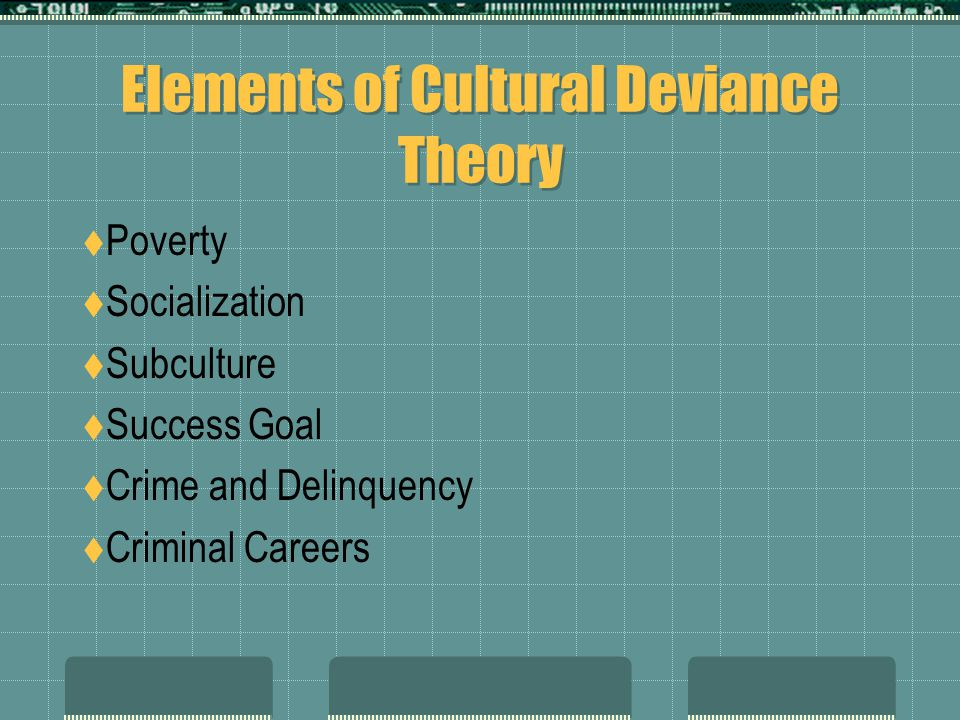 Elements of Cultural Deviance Theory