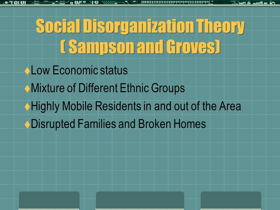 Social Disorganization Theory ( Sampson and Groves)