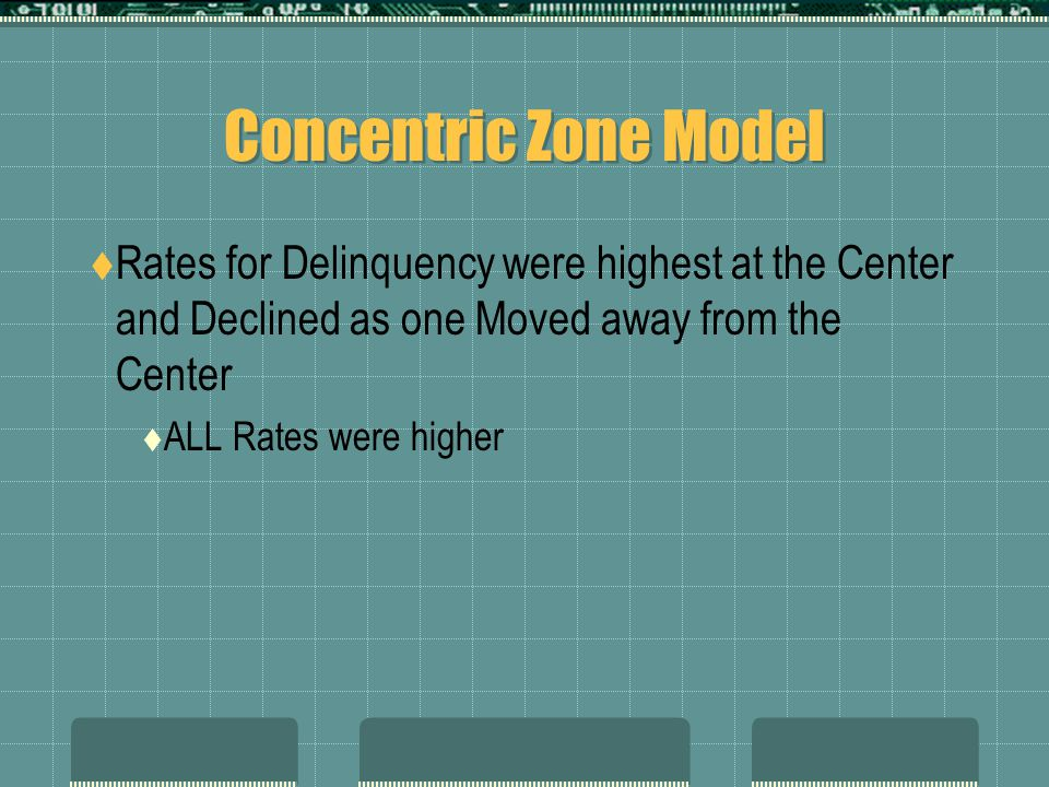 Concentric Zone Model Rates for Delinquency were highest at the Center and Declined as one Moved away from the Center.
