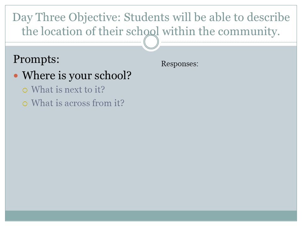 Day Three Objective: Students will be able to describe the location of their school within the community.