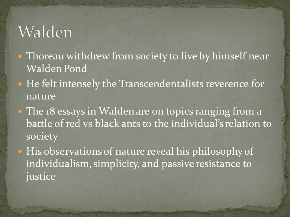 Walden Thoreau withdrew from society to live by himself near Walden Pond. He felt intensely the Transcendentalists reverence for nature.