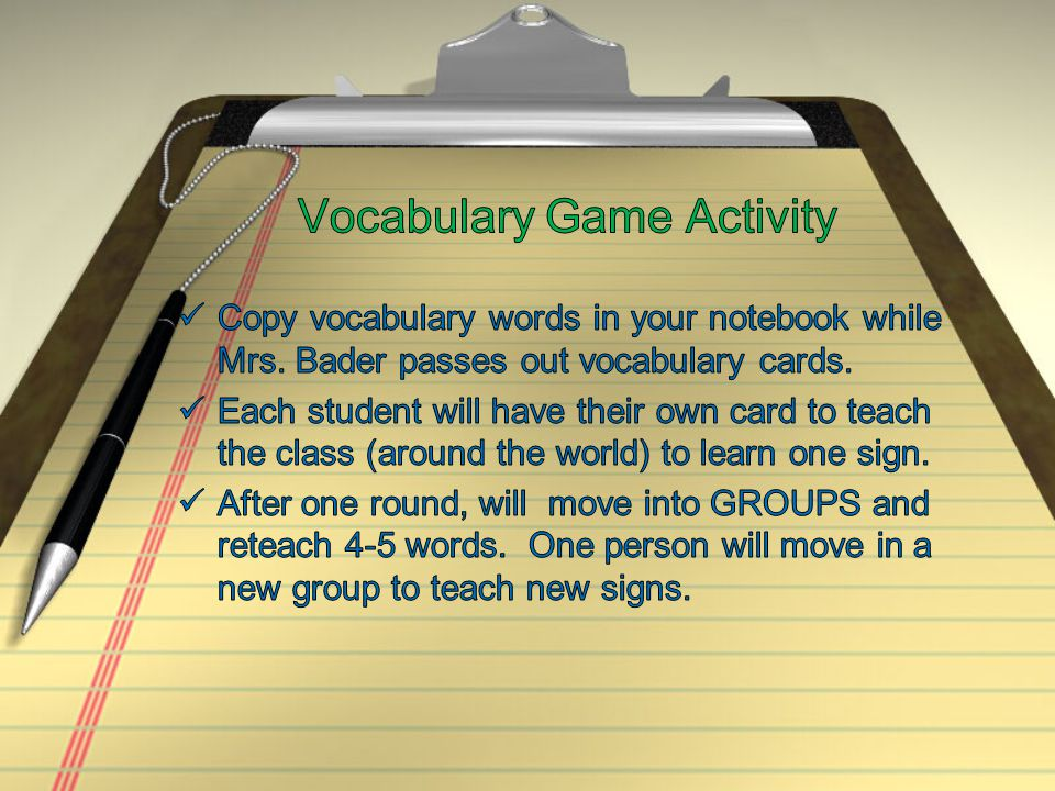 Vocabulary Game Activity