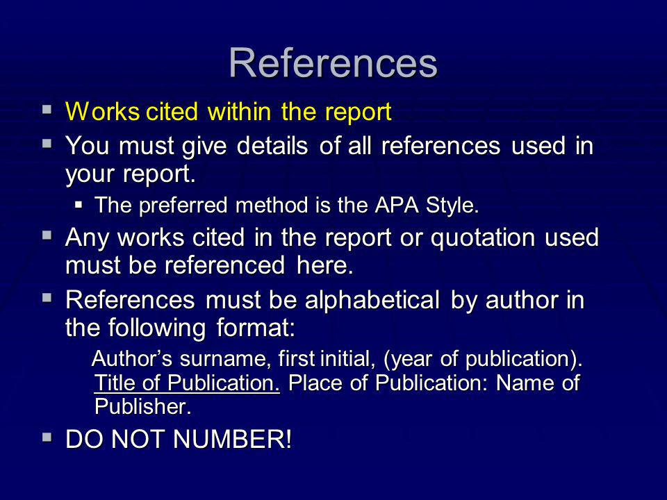 References Works cited within the report