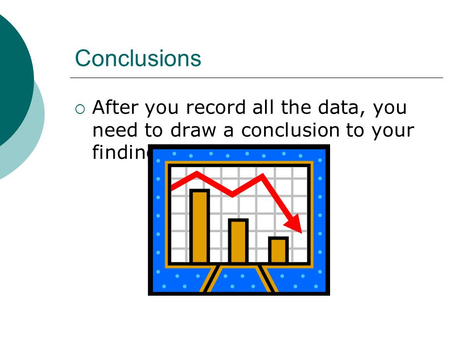 Conclusions After you record all the data, you need to draw a conclusion to your findings.
