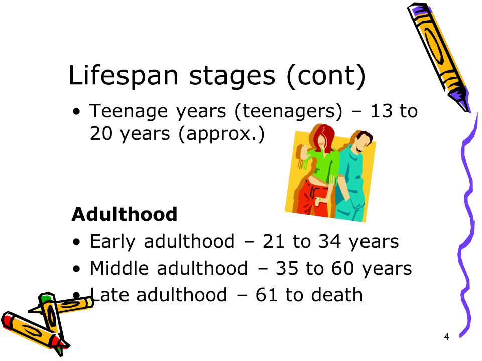 Lifespan stages (cont)