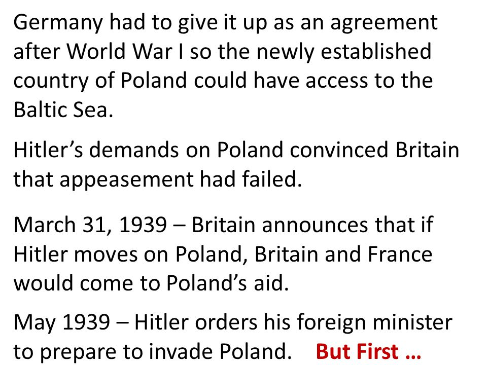 Germany had to give it up as an agreement after World War I so the newly established country of Poland could have access to the Baltic Sea.