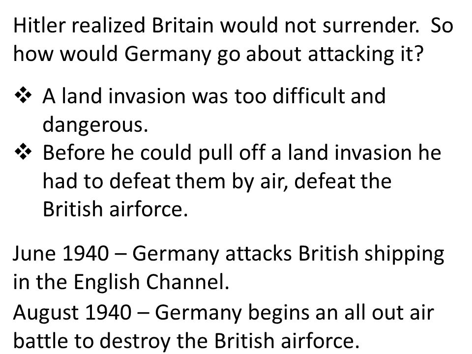 Hitler realized Britain would not surrender