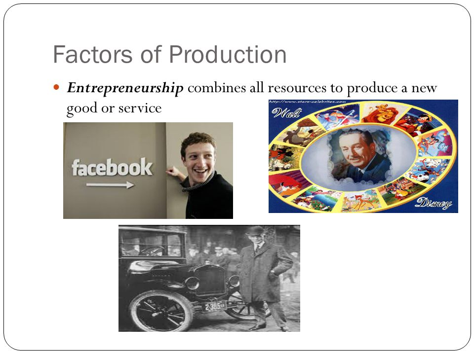 Factors of Production Entrepreneurship combines all resources to produce a new good or service