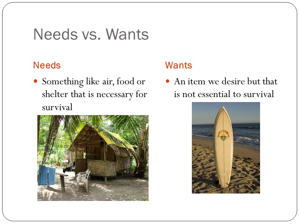 Needs vs. Wants Needs. Wants. Something like air, food or shelter that is necessary for survival.