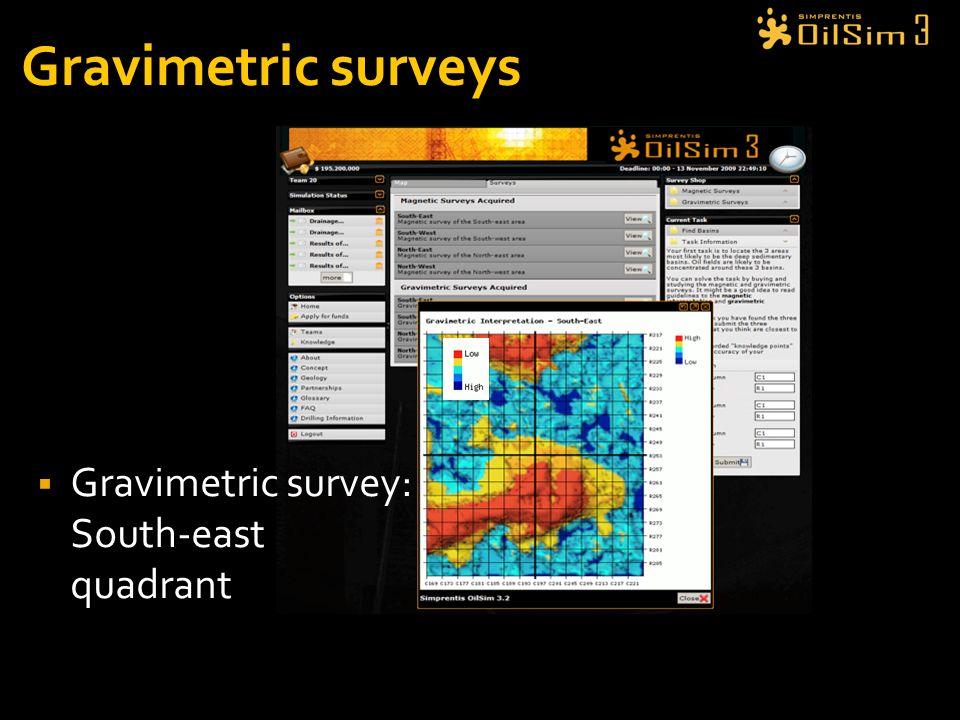 Gravimetric surveys Gravimetric survey: South-east quadrant